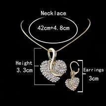 Women's Heartshaped Cut Crystal Gold Pendant Necklace Jewelry Set image 4