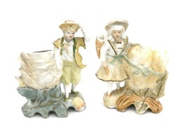 Antique  Unger Charles Schneider Figures  pair Unglazed Bisque 8837 German - $44.50
