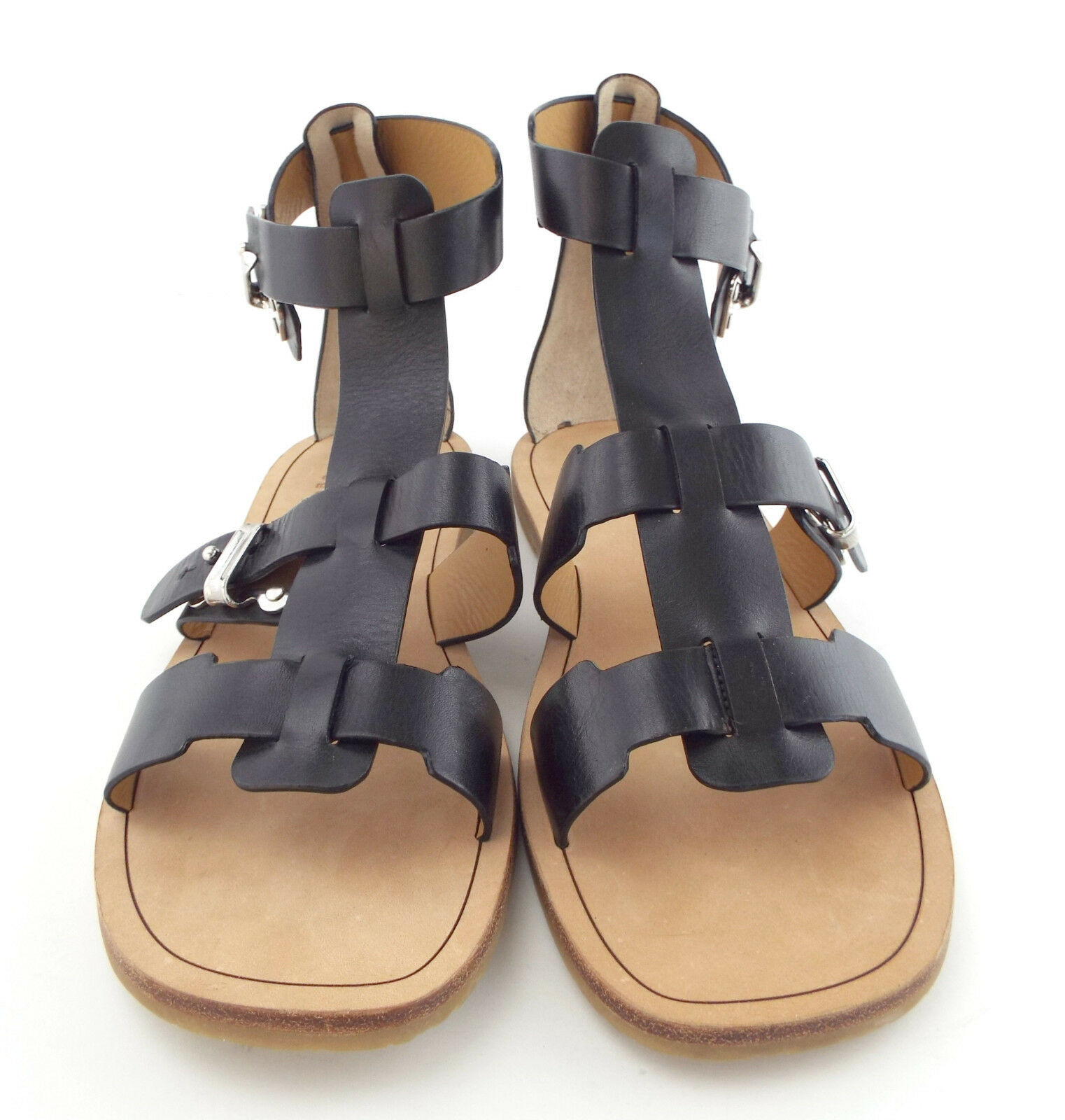 New MARC JACOBS Size 7 Black Gladiator Style Buckled Up Sandals Shoes 37 - $119.00