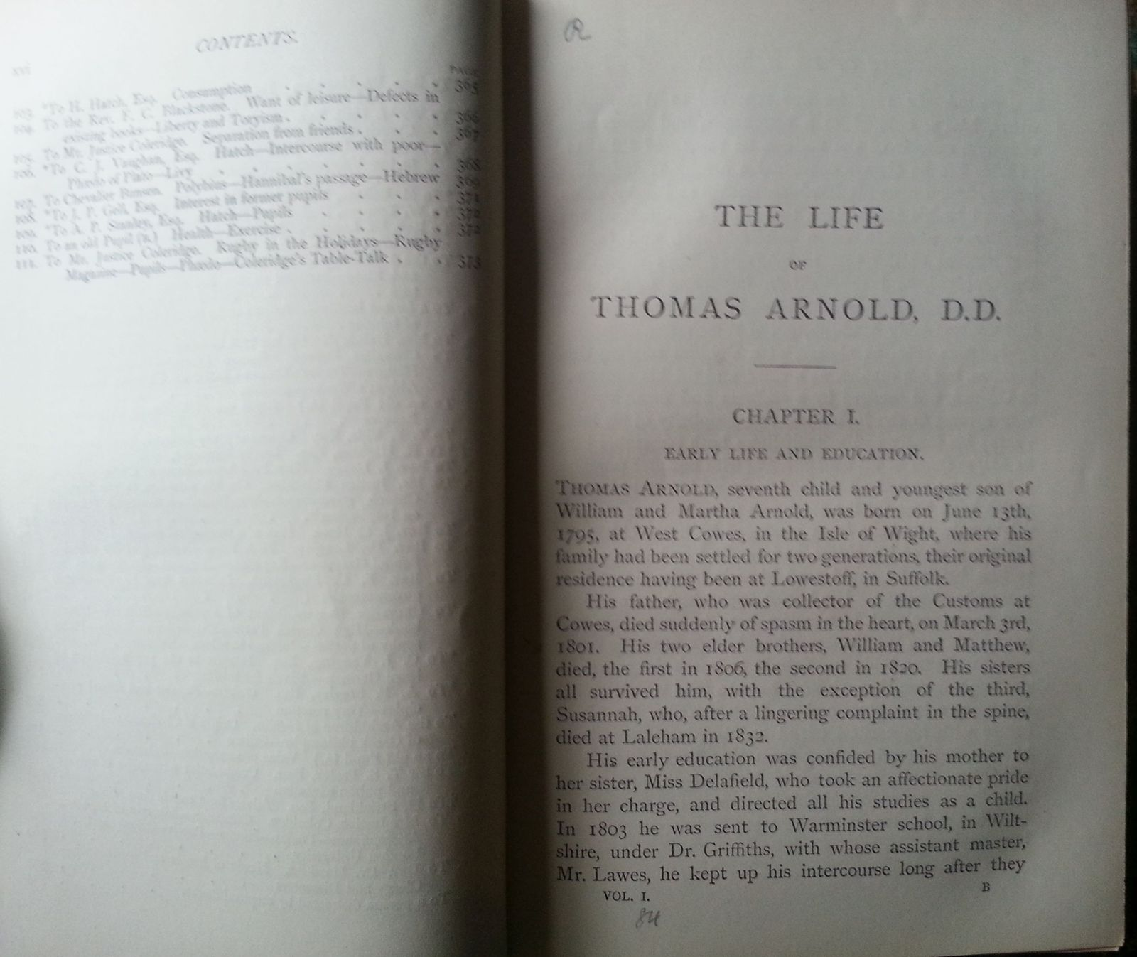 The Life and Correspondence of Thomas Arnold 1877 HB Vol I