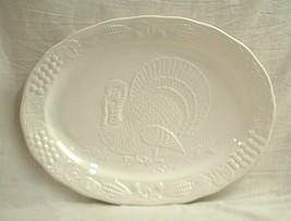 Old Vintage Thanksgiving Holiday Large White Oval Turkey Platter Unknown... - $69.29