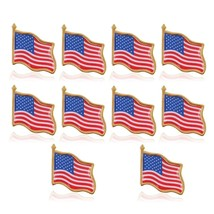 10PCS American Flag Lapel Pin United States USA Hat Tie Tack Badge Pin - $9.00