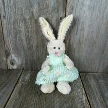 White Bunny with Green Dress Jointed Plush Unipak Rabbit Stuffed Animal ... - $29.69