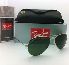 Polarized RAY-BAN Aviator Sunglasses RB 3025 001/58 58-14 Gold Frames Green Lens