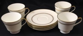 Set of 4 Mikasa Narumi Bryn Mawr Cups & Saucer Bone China Gold Trim 7.5 ... - $24.99