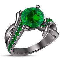 14k Black Gold Plated Pure 925 Silver Engagement Ring Round Cut Green Sapphire - $87.99