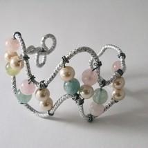 Bracelet Aluminum with Aquamarine Multi-Colored Pearls image 1