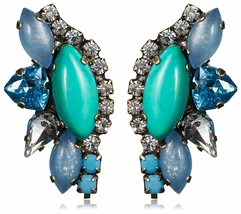 TOVA Turquoise Chalcedony and Swarovsky Crystal Long Post Earrings NWT