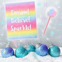 GirlZone: Glitter Rainbow Notebook and Pom Pom Pen Gift Set for Girls image 2