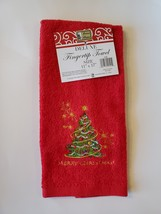 CHRISTMAS FINGERTIP TOWEL SET 3pc, Embroidered Holiday Towels, Santa Red Green image 7
