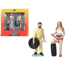 Andie and Gary Tire Brigade 2 piece Figurine Set 1/18 by Motorhead Minia... - $34.40