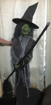 "Gemmy Animated Evil Witch w/ Broom 72"" 6ft halloween talking prop decora... - $79.99"