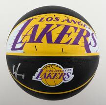 KYLE KUZMA / AUTOGRAPHED LOS ANGELES LAKERS BLACK SPALDING BASKETBALL / BECKETT image 1