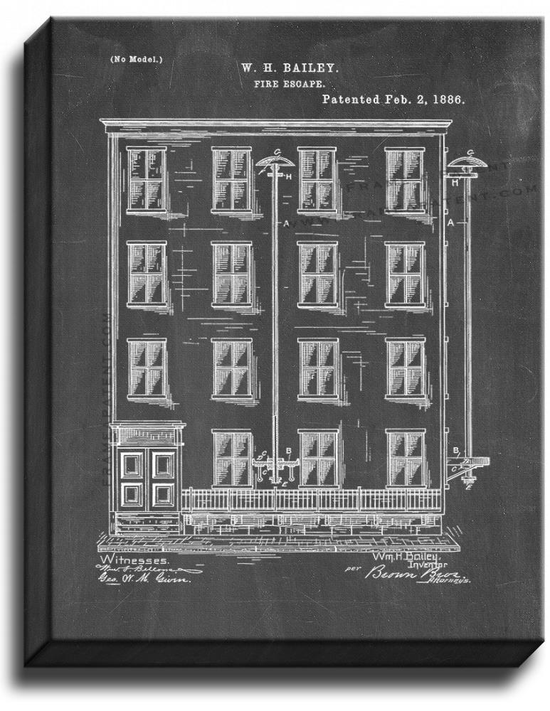 Primary image for Fire Escape Patent Print Chalkboard on Canvas