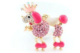 Pink Poodle Dog Puppy Cute Animal Keychain Rhinestone Crystal Charm Gift... - $18.17