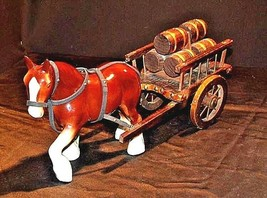 Ceramic Clydesdale Horse with Cart of six Barrels AA18-1318 Vintage image 1