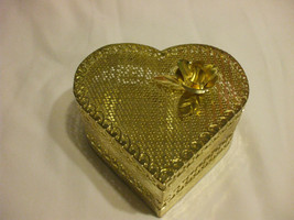 Golden Metal Heart Container Delicately Carved 5 Inches wide 2 Inches Tall - $15.98