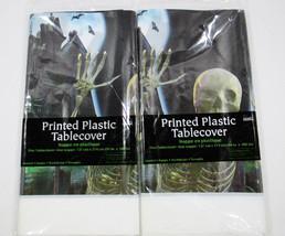 "2 Halloween Plastic Tablecloths 54"" x 108"" ea Party Supplies Eerie Skele... - £12.54 GBP"