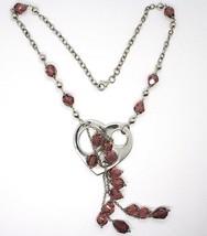 Collar Plata 925 , Corazón Perforado Colgante, Racimo Pepitas Violeta image 2