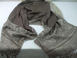 Scarf Shawl Wrap Cover Taupe Beige Soft Feel Polyester Fringe Tassels 70... - $19.75