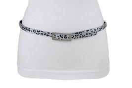 Hot Women Narrow Belt Hip High Waist Silver Black Leopard Animal Print Size L XL - $10.77