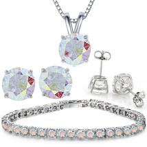 Vintage Tennis bracelet w Aurora Borealis crystals prong set - $14.69