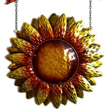 Metal & Glass Orange Yellow Fall Colors Hanging Sunflower Welcome Sign Decor image 2
