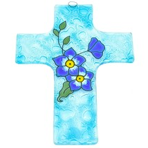 Handmade Fused Art Glass Forget Me Not Floral Flower Cross Hanging Sun Catcher image 1