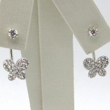 18K WHITE GOLD PENDANT EARRINGS, BUTTERFLY UNDER THE EARLOBE WITH ZIRCONIA image 1