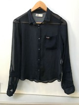 Hollister XS Sheer Roll Tab Long Sleeve Button Down Navy Blue Shirt Top - $14.95