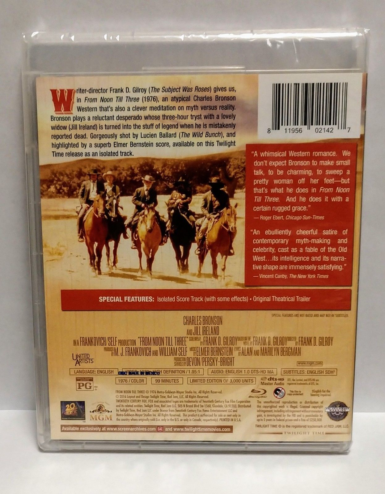FROM NOON TILL THREE (1976) Twilight Time Blu Ray - Charles Bronson - BRAND NEW