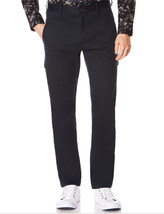NEW MENS PERRY ELLIS FLAT FRONT BLUE BRUSHED COTTON CARGO PANTS $79 - $24.99
