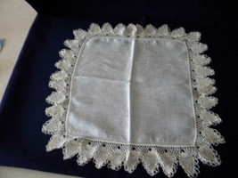 "Lovely Vintage Large White Hankie with Pineapple Crochet Trim; Approx. 2"" - $4.50"