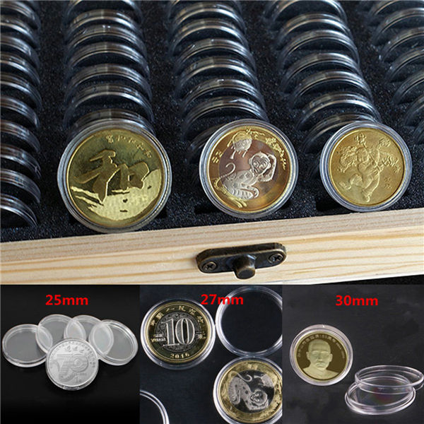 50pcs 25/27/30mm Round Coins Holders Storage Container Display Cases Wooden Box
