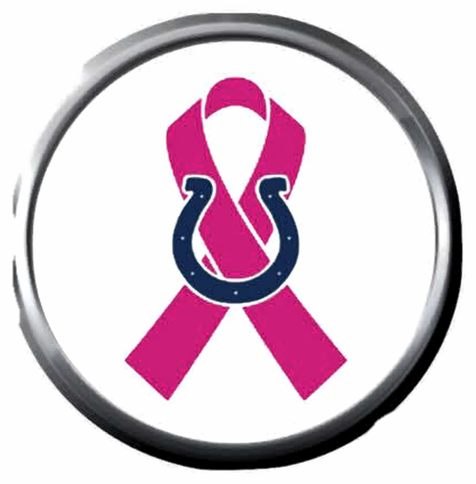 Primary image for Breast Cancer Ribbon Indy Colts NFL Football Logo 18MM - 20MM Snap Jewelry Charm