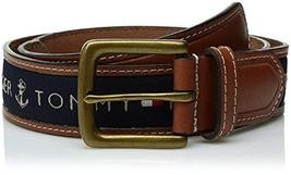 Tommy Hilfiger Men's Leather Casual Belt with Fabric Inlay, 44, Navy
