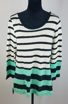 Pilcro and the letterpress Anthropologie women M stripe 3/4 sleeve blouse - $21.78