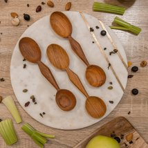 Hand Carved 2 Two Headed Condiment Wooden Spoon - $15.00