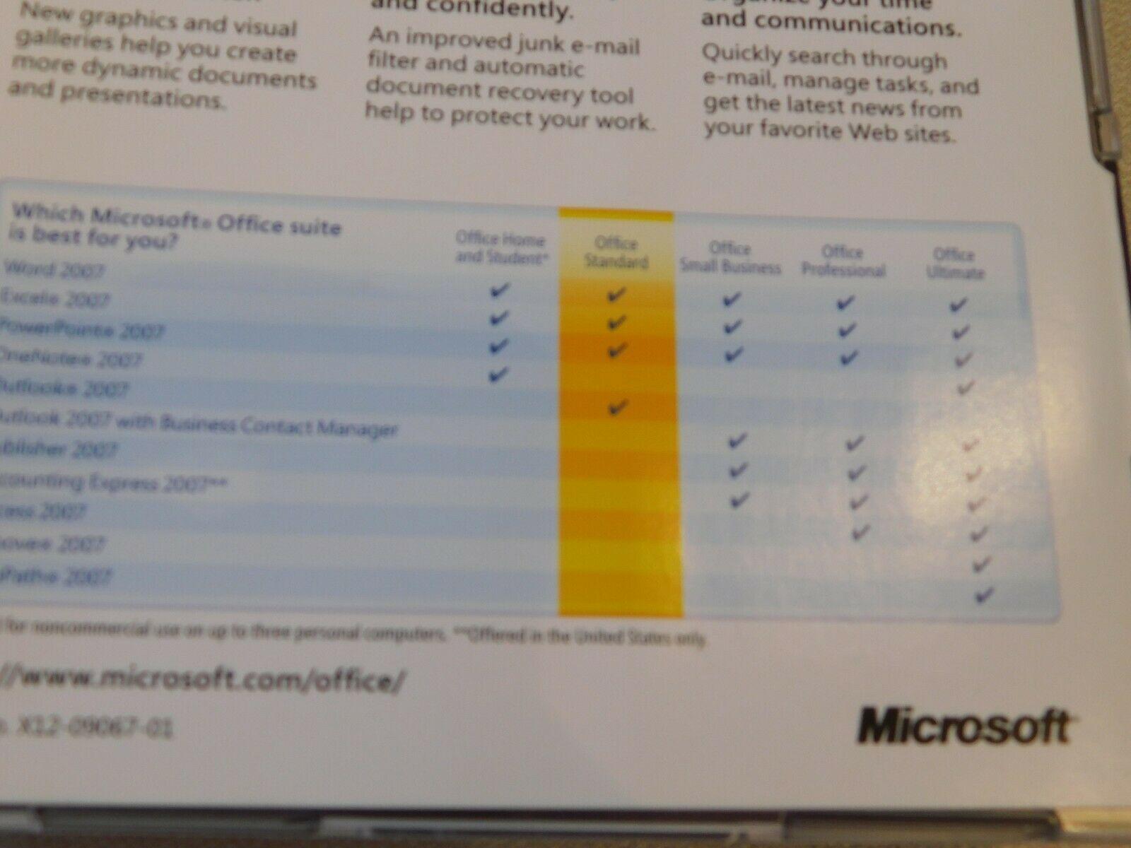 Microsoft Büro Standard 2007 PC Upgrade 021-07668 Geöffnet NOS Neu Word Excel image 7