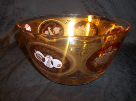 Vintage Cera Clear Glass Bowl Punch Bowl with Gold Band Red Fruit - $28.71