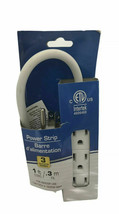"""Electrical 3 Outlet Power Strip 12"""" Extension White Bedroom Kitchen Tv Radio"""