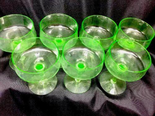 7 Tiffin Vaseline Glass Ribbed Optic Sherbet Champagne Glasses Coupe Shape