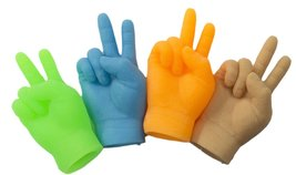 Set Of 4 Assorted Color 2.5 inch Peace Sign Latex Finger Puppets - $2.92