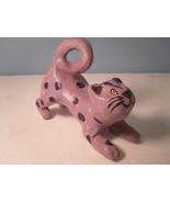 Purple Polka Dot Pouncing Cat Figurine Handmade Handpainted - $7.08