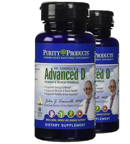 Dr. Cannell's Advanced D by Purity Products - 60 Veggie Caps (2) 2 Pack!