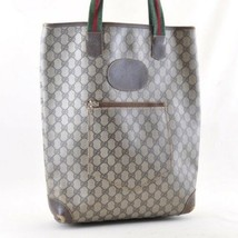 Gucci Sherry Linea Gg Borsa Tote in Tela Marrone PVC in pelle Auth 4678 - $271.02
