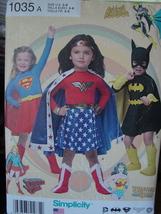 Pattern 1035 Child's Super Hero Costumes 3-8 Wonder Woman, Supergirl, Ba... - $6.99