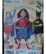 Pattern 1035 Child's Super Hero Costumes 3-8 Wonder Woman, Supergirl, Bat Girl - $5.99