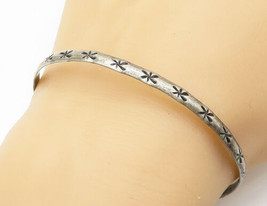 CUERNAVACA MEXICO 925 Silver - Vintage Antique Star Etched Bangle Bracel... - $36.64