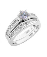 1.50 ct Round Cut Cz Wedding Engagement Ring Set Solid 925 Sterling Silver - $29.99